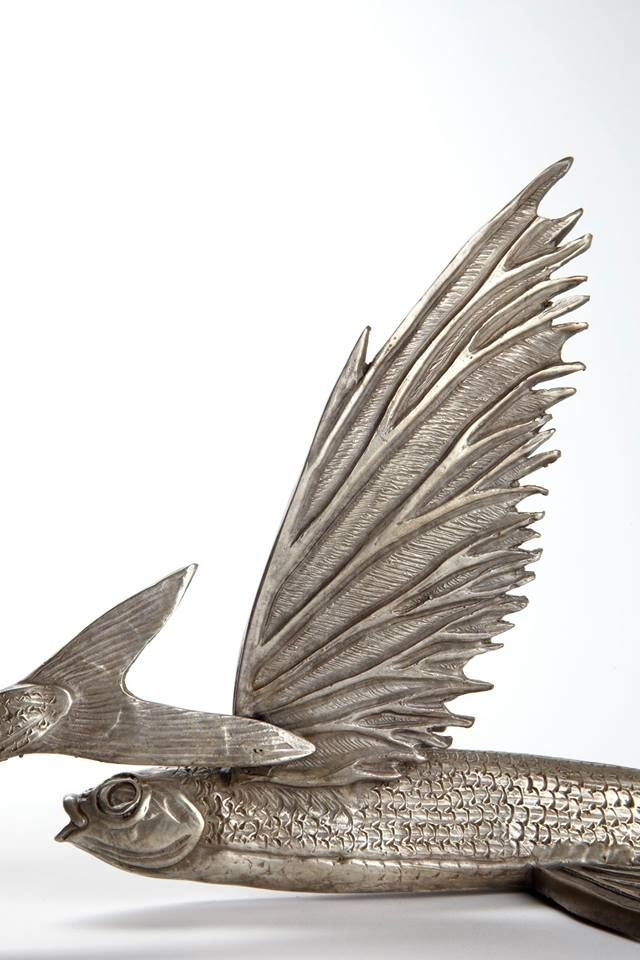 'BARBADOS' New flying fish sculpture by Master Sculptor Kirk McGuire.  Visit his website to view or place orders!  Close up