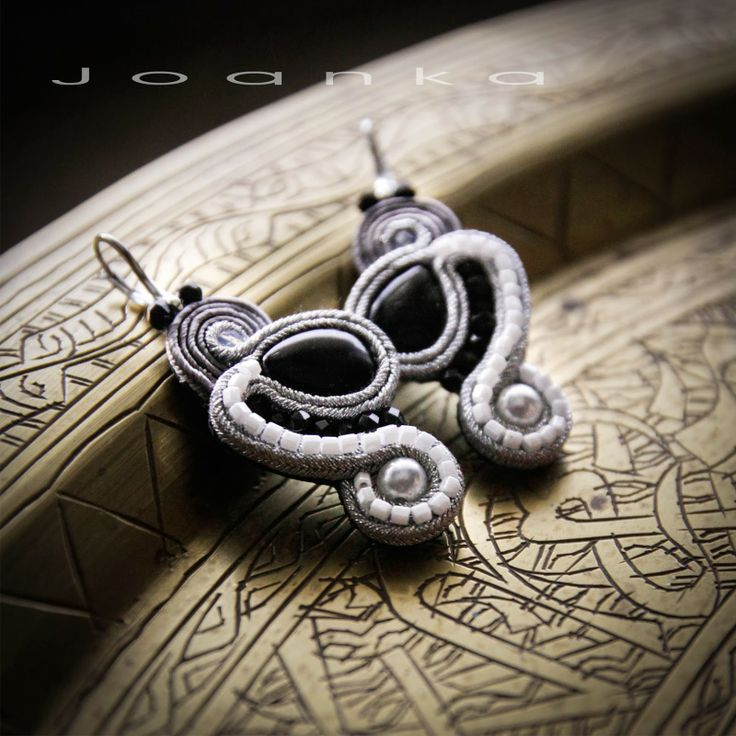 Soutache earrings, jewelry by Joanka. Winter earrings