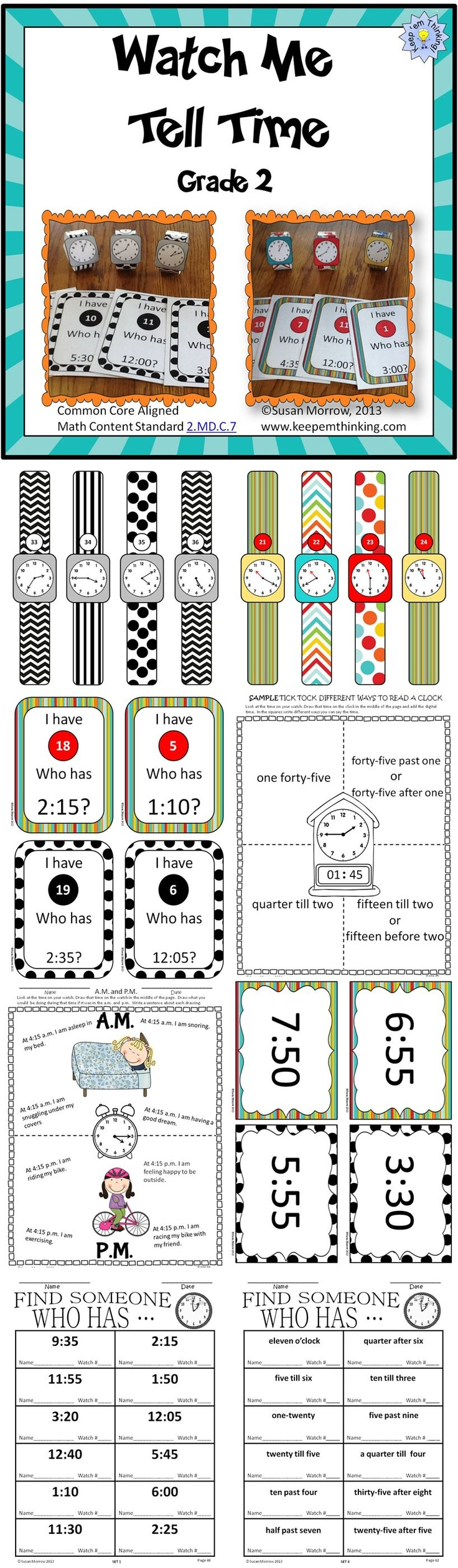 Watch Me Tell Time uses individual student watches to get your students up and moving and actively involved in learning to tell time to the nearest five minutes. The unit includes 48 individual watches for you to print out, laminate and have students wear during activities to teach time to 5 minute intervals. The watches are available in both color and black and white to save printing costs.