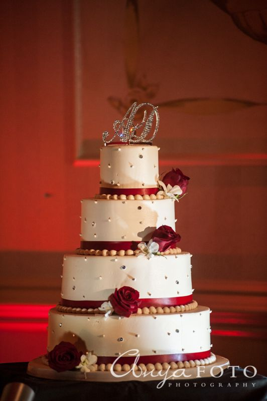 Wedding Cakes anyafoto.com #wedding #weddingcakes, wedding cake ideas, wedding cake desings, white wedding cake, 4 tier wedding cake, red rose wedding cake, red ribbon wedding cake