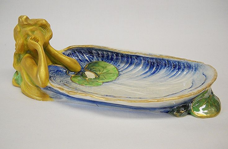 Art Nouveau ERNST WAHLISS PIN/CARD TRAY-WATER NYMPH, LILIES-AUSTRIA-As Is-NR | eBay
