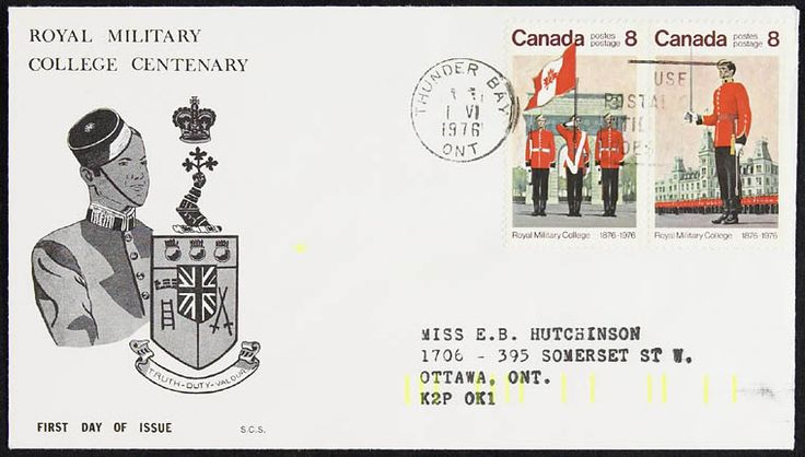 Royal Military College of Canada centennial stamp 1976 Copyright belongs to the Crown ; Credit: Canada. Department of National Defence / Library and Archives Canada / ecopy