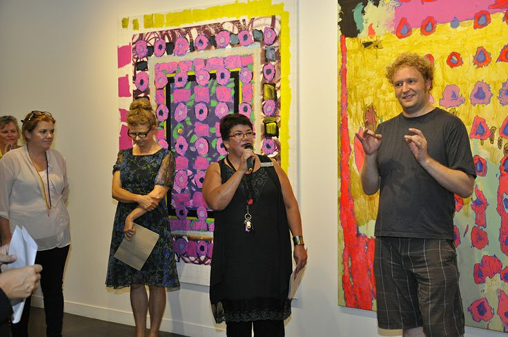 Arts Project Australia director Sue Roff giving some much needed thanks at the Knowing Me, Knowing You (KMKY) opening to all those involved in making the exhibition such a success. On Sue's left is artist and curator Lindy Judge who Arts Project invited to create an in-depth collaborative investigation that would culminate in the exhibition involving ten Arts Project artist paired with ten external artists. Translator Ben Richardson stands on the right.