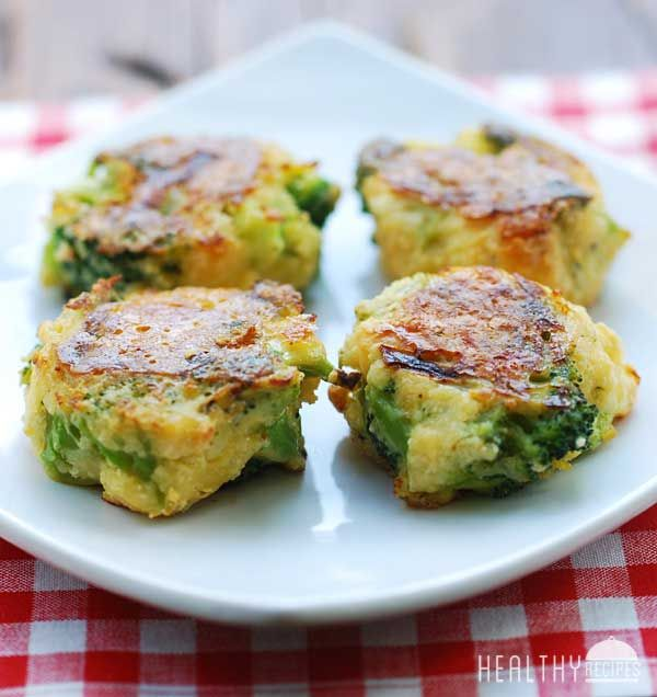 Cheesy Broccoli Bites | Healthy Recipes Blog  (alter with egg whites, fresh broccoli and low fat or ff cheese)