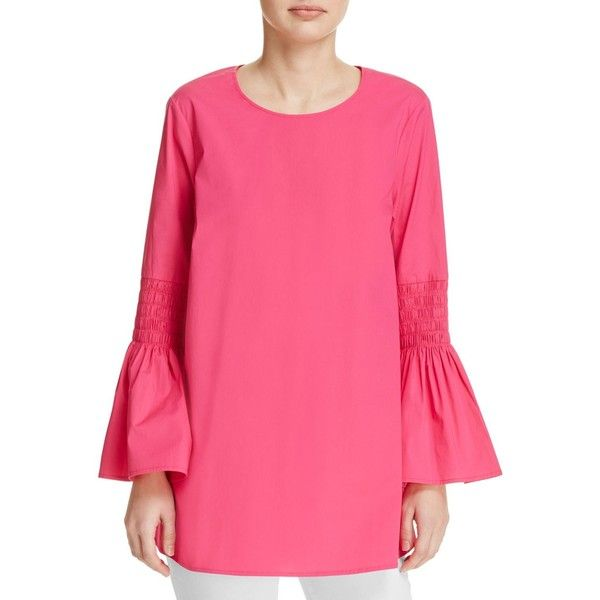 Michael Michael Kors Smocked Bell Sleeve Tunic - 100% Exclusive (€82) ❤ liked on Polyvore featuring tops, tunics, electric pink, smock top, ruched top, bell sleeve tops, flared sleeve top and michael michael kors tops
