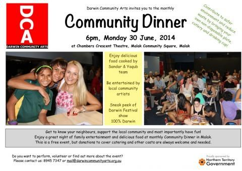Community Dinner in June 2014 | Darwin Community Arts