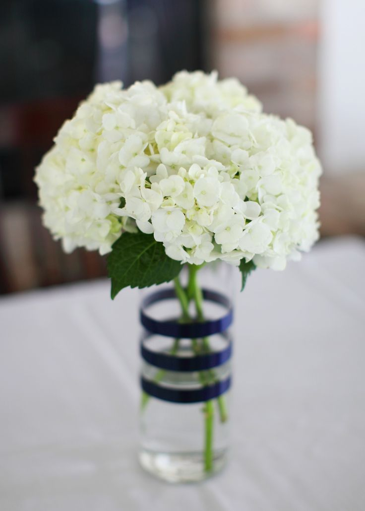 Simple Hydrangeas In Vases Wrapped With Navy Satin Ribbon Our Day Pinterest Hydrangeas