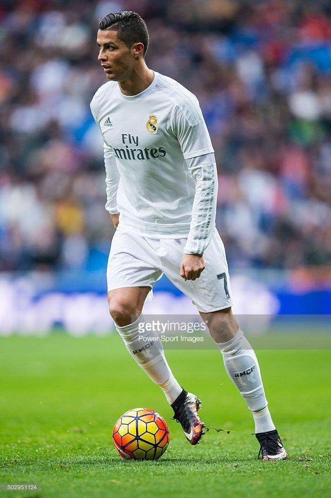 Cristiano Ronaldo of Real Madrid CF in action during the Real Madrid CF vs Real Sociedad match as part of the Liga BBVA 2015-2016 at Estadio Santiago Bernabeu on December 30, 2015 in Madrid, Spain.