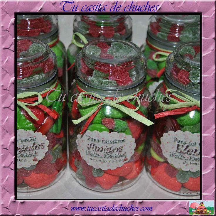 Tarros tradicionales de cristal personalizados. Con aprox. 500 grs de las mejores chuches!. Disponible en www.tucasitadechuches.com