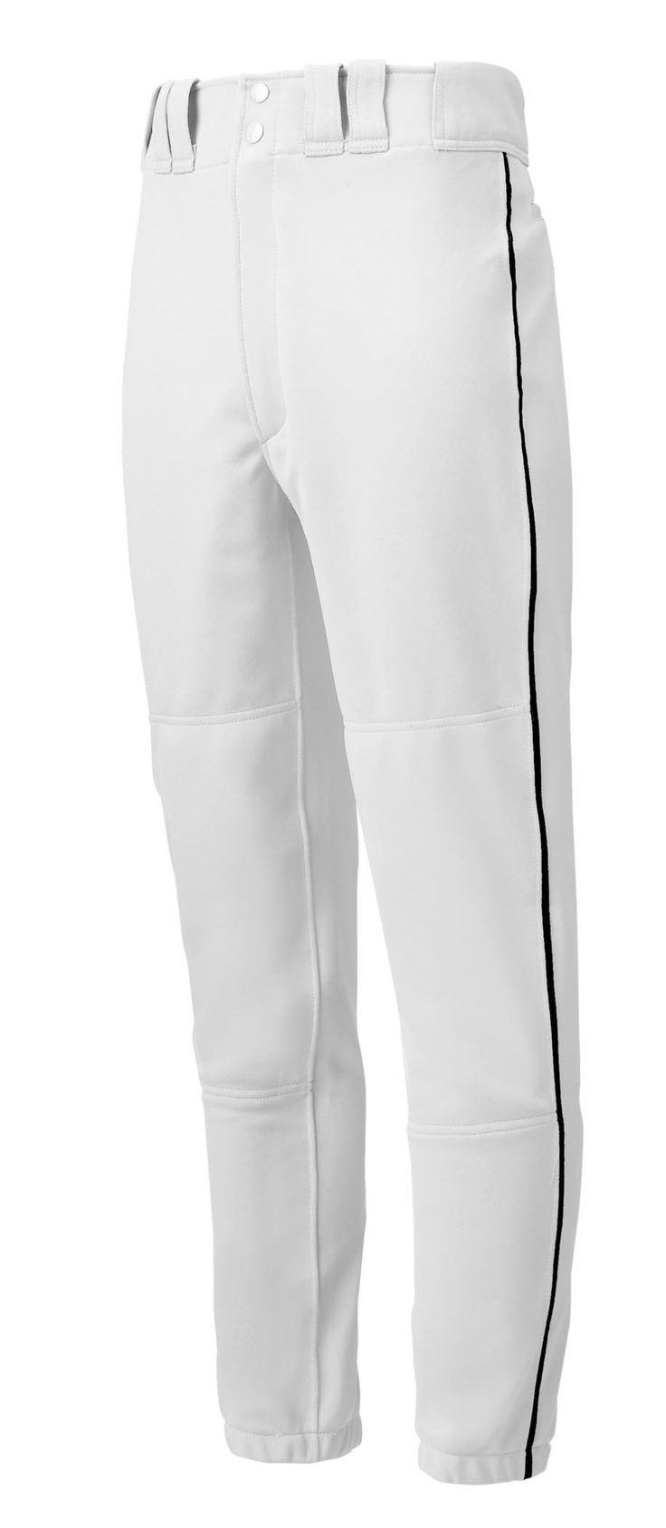 Mizuno Youth Premier Piped Pant (White/Black, XX-Large). 100 % Polyester Double Knit (15 oz). Designed specifically to fit a youth sized body. Tunnel belt loop waist with two set in back pockets with button closure. Double knee, performance plus padding. Elastic bottom. Size charts define measurements of the garment and not the body.