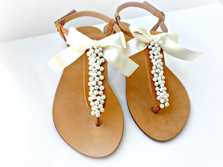 Wedding sandals- Greek leather sandals decorated with white pearls and satin bow -Bridal party shoes- Ivory women flats- Bridesmaid sandals by dadahandmade on Etsy