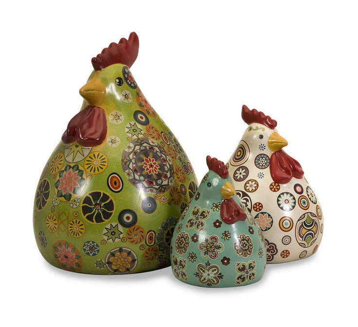 FRENCH COUNTRY S/3 Rooster/Hen Chicken Set Porcelain FIGURINE Floral Folk Art