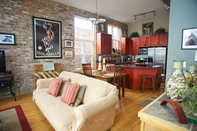 Chicago loft.  Found it in a regular Google search for lofts for rent chicago. This is on Airbnb. You could book a stay here.