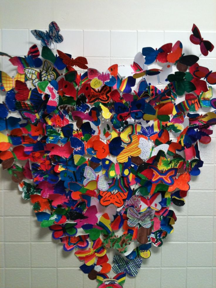 Collaborative Butterfly Heart... I could see making this in different shapes/ over a field of painted grass blades