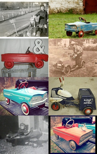 old pedal cars and people posing with their old cars pinned with