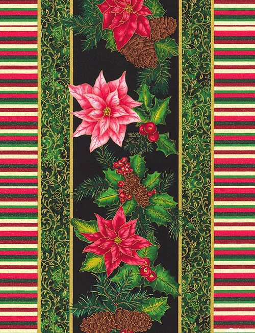 Christmas Morning - Ribbon & Poinsettia Stripe - Black/Gold