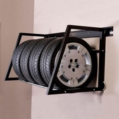 HyLoft 58 in. W Heavy Duty Adjustable Garage Wall Tire Rack in Black-01004 - The Home Depot