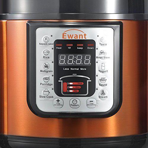 Ewant 9-in-1 Multi-functional Electric Pressure Cooker, Pressure Cooker, Stainless Steel Pressure Cooker, Digital Pressure Cooker, Digital Non-Stick Stainless Steel, 6 Quart/1000W, Orange