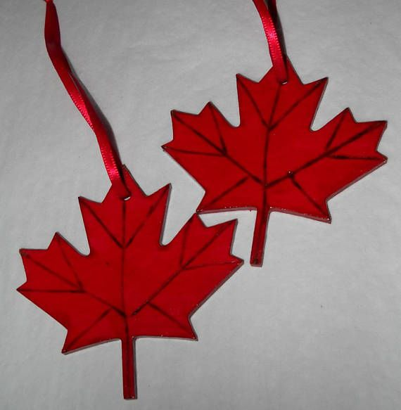Maple Leaf Ornaments Symbol Of Canada Wooden Christmas Decorations Bright Red Wooden Christmas Decorations Leaf Ornament Handmade Christmas Ornaments