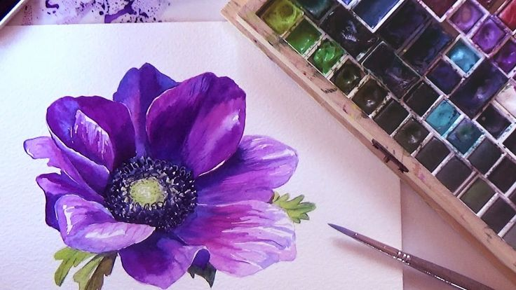 HOW TO PAINT A FLOWER IN WATERCOLOR. Tutorial Step by Step.   Anemone