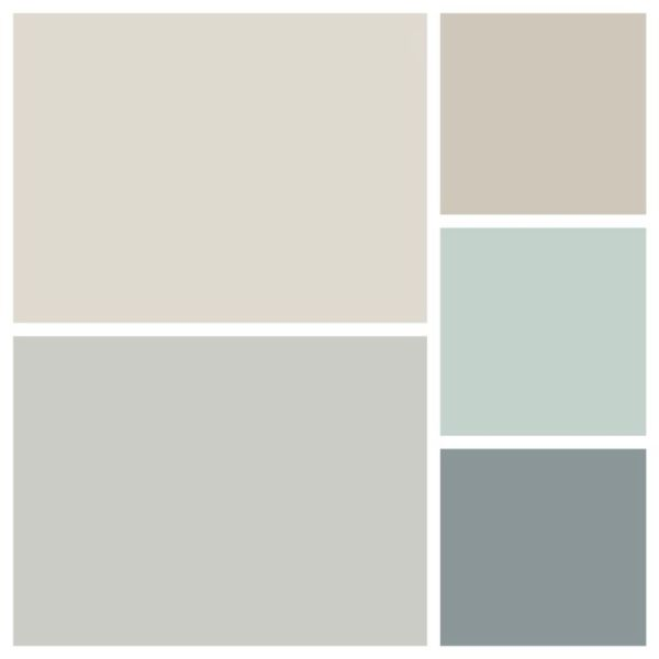 The Maddox house color palette is complete! Thanks Benjamin Moore! Top left: pale oak Bottom left: stonington gray Top right: revere pewter Middle right: Palladian blue Bottom right: Brewster gray Excited! Let the painting begin!! by rebecca2