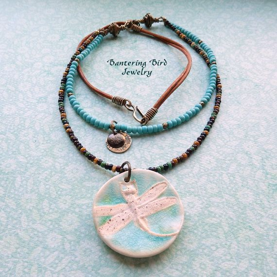 Speckled Stoneware Pottery Dragonfly Pendant  by BanteringBird