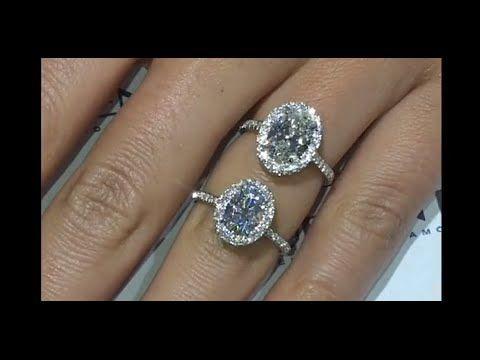Moissanite VS Diamond: Oval Halo Rings I VOTE MOISSANITE ...