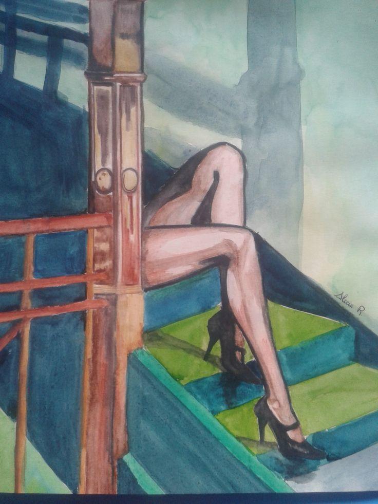 Dibujo realizado en acuarela por Alicia Ruiz
