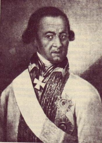 ABRAM PETROVICH HANNIBAL. Adopted African slave child who became the godson of Peter the Great, a decorated military commander, an engineer, and the great-grandfather of Alexander Pushkin.