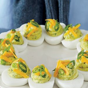 Tex-Mex Deviled Eggs | MyRecipes.com The South's iconic appetizer fuses with the nineties' obsession with Tex-Mex.