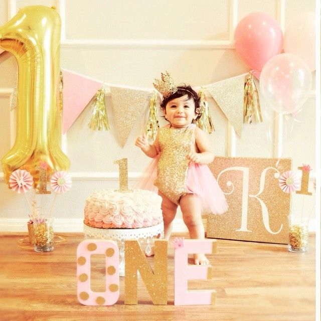 Pink & Gold First Birthday Sequin & Tutu outfit