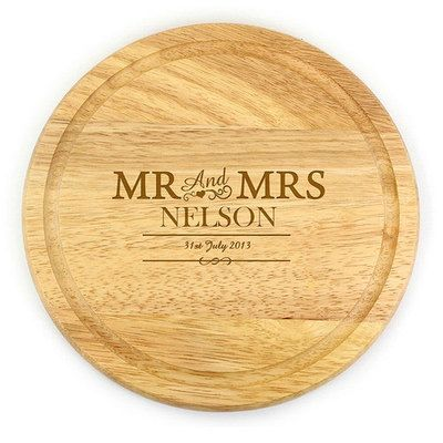 Personalised Mr & Mrs Round Chopping Board #Valentines #gifts #love