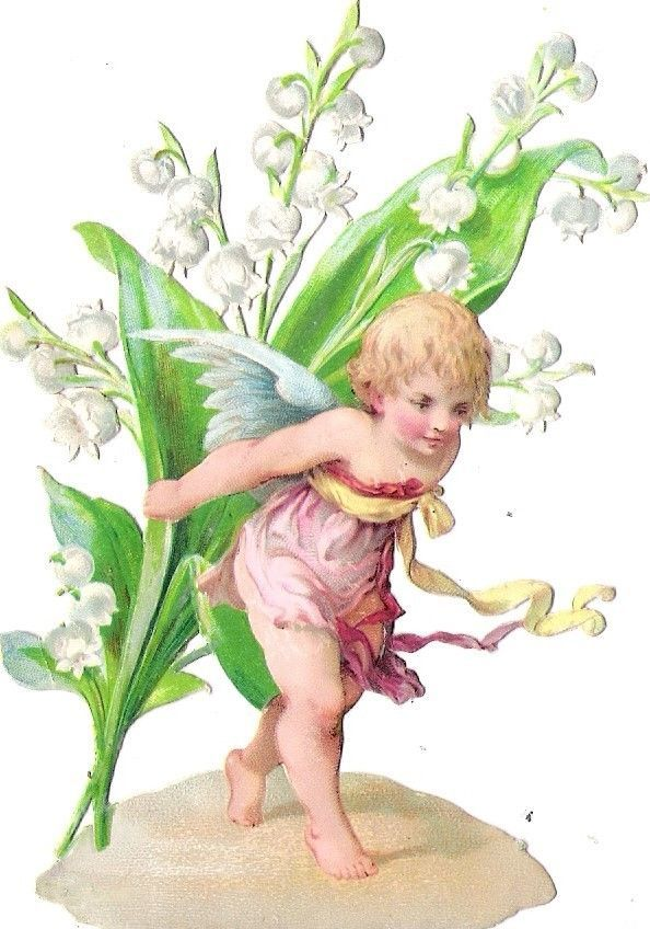 Oblaten Glanzbild scrap die cut chromo Engel angel Blumen Kind Elfe elf  valley