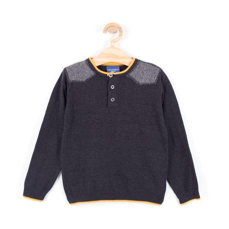 Sweter, kolor grafitowy, długi rękaw, zapięcie na guziki, dziane