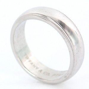 Estate Designer Tiffany Co Platinum Mens Wedding Band Ring Fine Jewelry