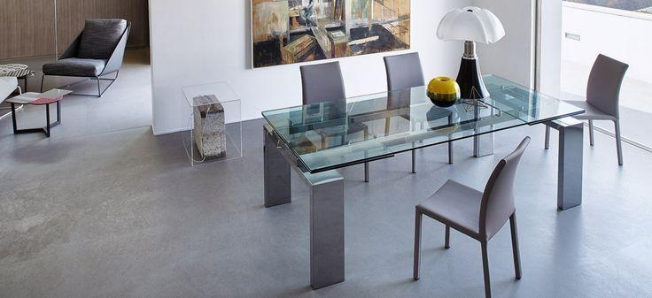 Tom – Tavolo allungabile – Piano in cristallo - Bonaldo