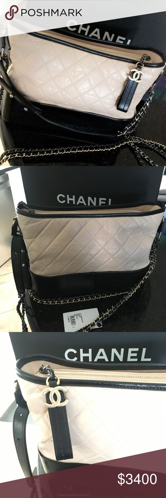 Chanel Gabrielle Hobo bag Gorgeous Chanel bag in the Gabrielle style introduced in 2017.  In the large (9.6 by 12.2 by 3.9) size in a beige/black color. Bag is in great condition and has been used only 2 weeks. The leather is extremely sensitive and has wrinkles due to slight wear which is super normal in this material. Super sturdy base, and with 3 different colored chains. Bag comes with original dust bag, packing, authenticity card and tags. Message for any questions! CHANEL Bags…