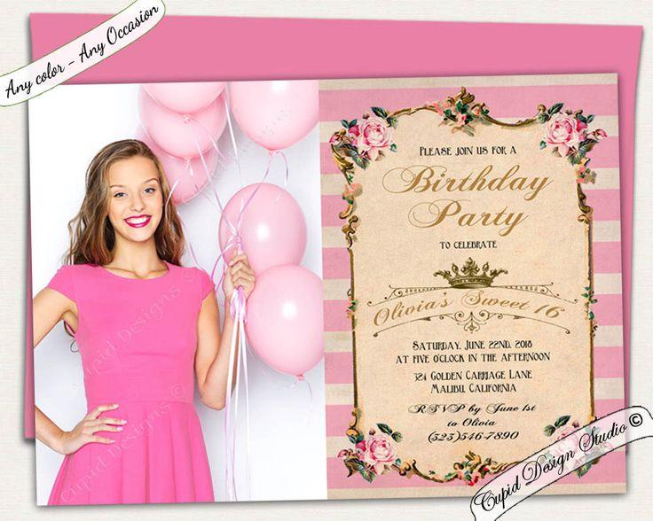 129 best birthday invitations images on pinterest | birthday party, Birthday invitations