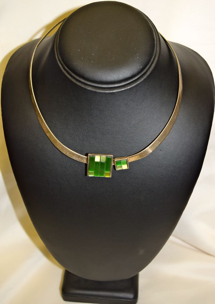 Vintage Silver Necklace with Green Glass