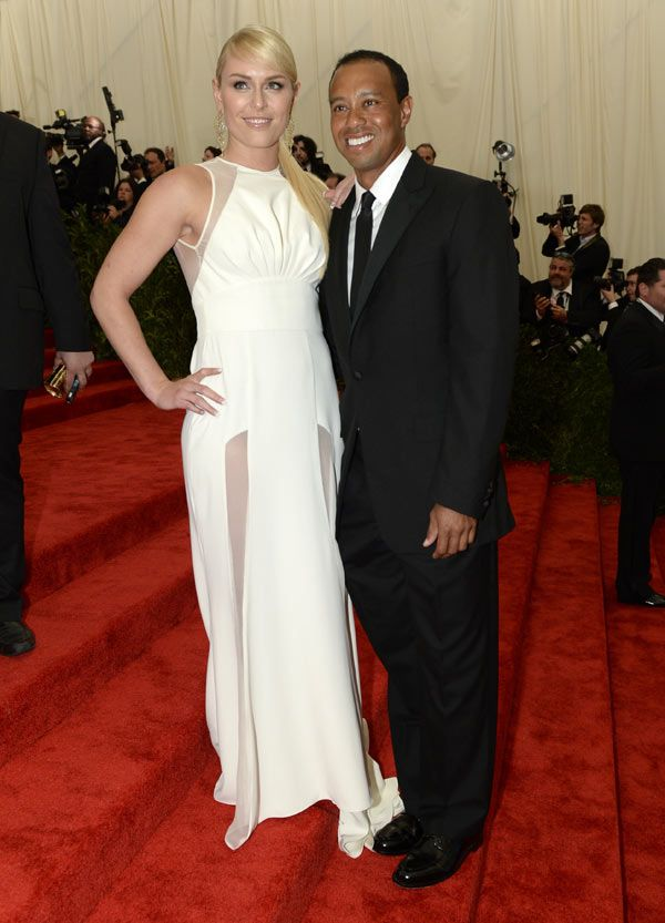 Tiger Woods and Lindsey Vonn Make Red Carpet Debut At Met Ball.  She could kick his a**.