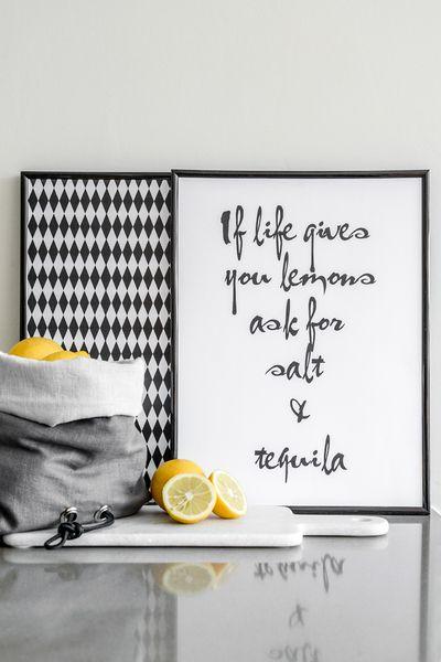 Poster If life gives you lemons van Zoedt woonaccessoires - teksten en grafische designs op DaWanda.com