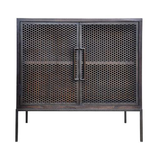 """Demian Bedside Table - Hardwood w/Pierced Metal Sliding Doors 30""""W x 20""""D x 30""""H"""