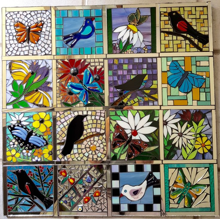 Fused birds and Butterflies in Mosaic by RoZ