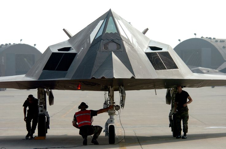 KUNSAN AIR BASE, South Korea -- Airmen from the 49th Maintenance Squadron, Holloman Air Force Base, N.M., conduct an end of runway check on an F-117 Nighthawk fighter.Aug 2004.