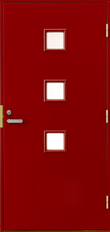 Ulko-oven saa juuri haluamansa kokoisena ja värisenä. - Front door with three small windows can be tailored in just right size and color.
