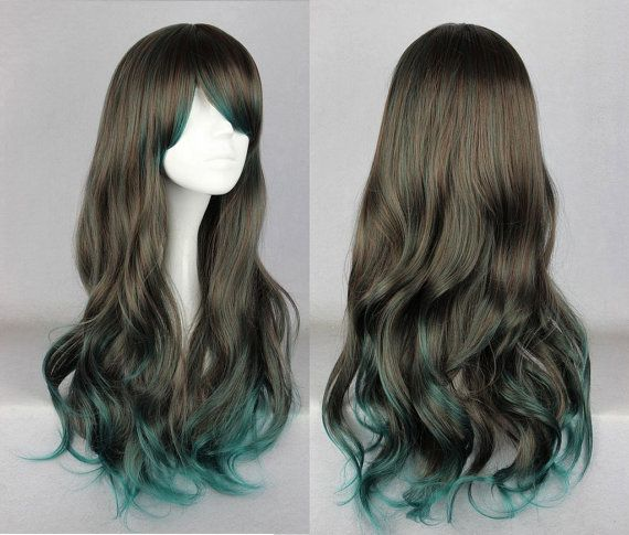 Long Brown and Green Curly Ombre Wig, Cosplay Wig with ...