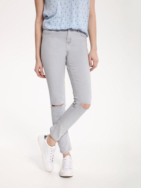 W2017 spodnie długie damskie krój 5-pocket, rurki, wąskie szare -  TROLL