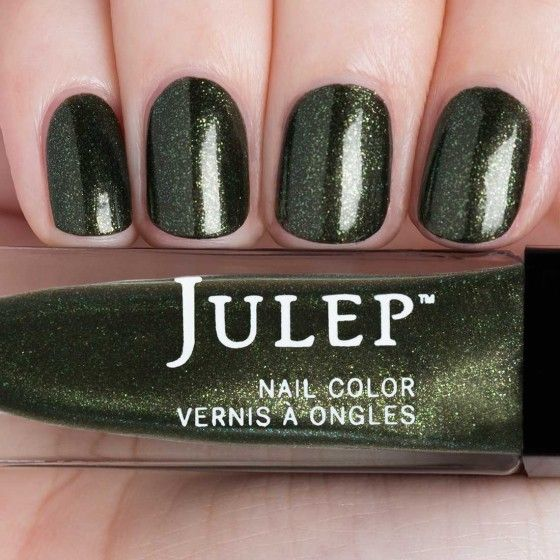 Huntsman green micro glitter shimmer nail polish