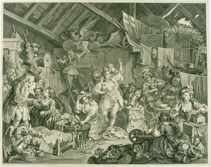 Strolling Actresses Dressing in a Barn, 1738, William Hogarth. Note: and nary a pair of knickers/underpants/drawers to be seen!
