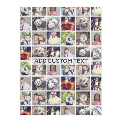 12 Photo Instagram Collage with Text Fleece Blanket - kids kid child gift idea diy personalize design